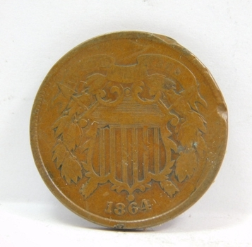 1864 US 2 Cent Piece-Excellent Detail & Color-Very Difficult To Find This Nice!