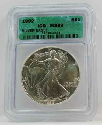 1992 American Silver Eagle - Graded MS69 by ICG - Nice White Coin