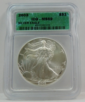 2003 American Silver Eagle - Graded MS69 by ICG - Pure White Coin