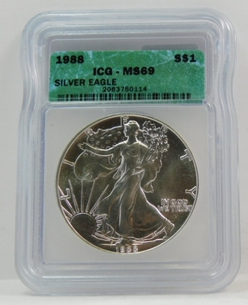 1988 American Silver Eagle - Graded MS69 by ICG - Pure White Coin