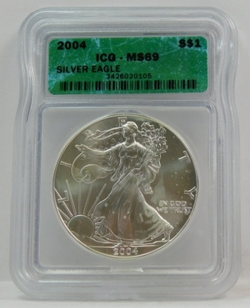 2004 American Silver Eagle - Graded MS69 by ICG - Pure White Coin