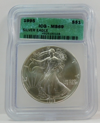 1995 American Silver Eagle - Graded MS69 by ICG - Pure White Coin