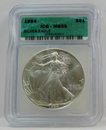 1994 American Silver Eagle - Graded MS69 by ICG - Pure White Coin