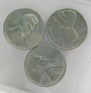 """Three (3) 1943 Lincoln Steel Wheat Cents - One """"S"""" and Two """"P"""" Cents - All three with Excellent Detail"""