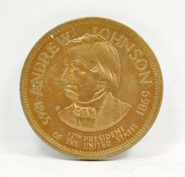 """Andrew Johnson - 17th President of the United States - Commemorative Brass Coin/Medal - 1"""" in Diameter"""