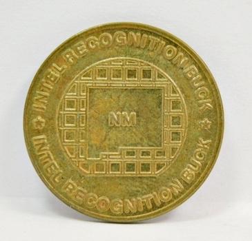 "NM Intel Recognition Buck - 1"" Brass $1 Token"