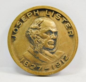 "Joseph Lister 3D Bronze Medallion - Introduced Antiseptic Surgery - 1.25"" Diameter"