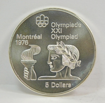 1974 Canada Brilliant Uncirculated Silver $5 Olympiad Coin - Beautiful, Sharp Detail