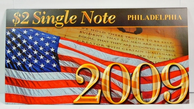 Series 2003A United States Two-Dollar ($2) Uncirculated Philadelphia Note - Serial # Begins with 2009 - #C20099748D - In Collector's Folder