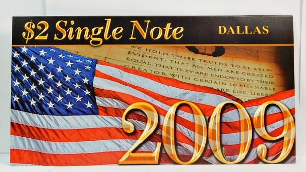 Series 2003A United States Two-Dollar ($2) Uncirculated Dallas Note - Serial # Begins with 2009 - #K20092038D - In Collector's Folder