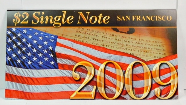 Series 2003A United States Two-Dollar ($2) Uncirculated San Francisco Note - Serial # Begins with 2009 - #L20094608D - In Collector's Folder