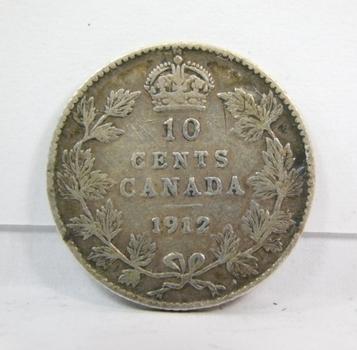 1912 Silver Canadian Dime-Original Above Average Condition