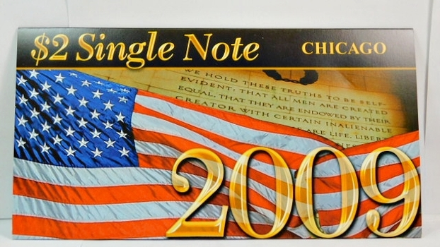 Series 2003A United States Two-Dollar ($2) Uncirculated Chicago Note - Serial # Begins with 2009 - #G20092526D - In Collector's Folder