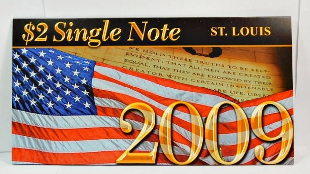 Series 2003A United States Two-Dollar ($2) Uncirculated St. Louis Note - Serial # Begins with 2009 - #H20096459D - In Collector's Folder