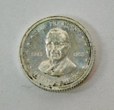 HARRY TRUMAN By Franklin Mint Miniature Silver Round! 1970's Circa-Comes In Small (Miniature) Snap Box! Cool!