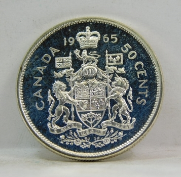 1965 Proof Like Canadian SILVER Half Dollar Brilliant Uncirculated-From An Original Gem Set