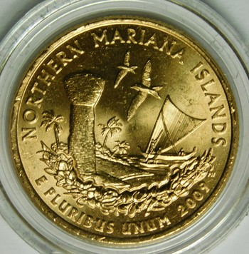 2009-P 24K Gold-Layered Northern Mariana Islands Commemorative Territories Quarter - In Plastic Capsule