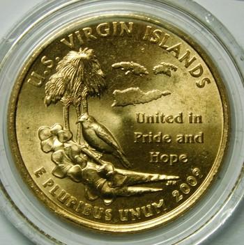 2009-P 24K Gold-Layered U.S. Virgin Islands Commemorative Territories Quarter - In Plastic Capsule