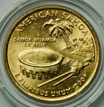 2009-P 24K Gold-Layered American Samoa Commemorative Territories Quarter - In Plastic Capsule