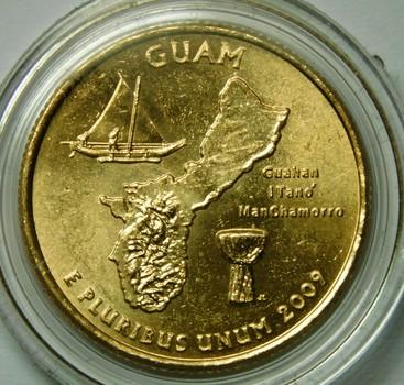 2009-P 24K Gold-Layered Guam Commemorative Territories Quarter - In Plastic Capsule