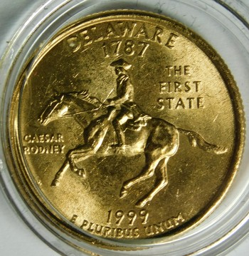 1999-P 24K Gold-Layered Delaware Commemorative State Quarter - In Plastic Capsule