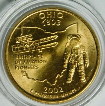 2002-P 24K Gold-Layered Ohio Commemorative State Quarter - In Plastic Capsule