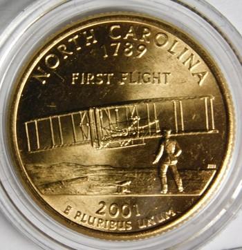 2001-P 24K Gold-Layered North Carolina Commemorative State Quarter - In Plastic Capsule