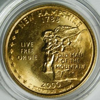 2000-P 24K Gold-Layered New Hampshire Commemorative State Quarter - In Plastic Capsule