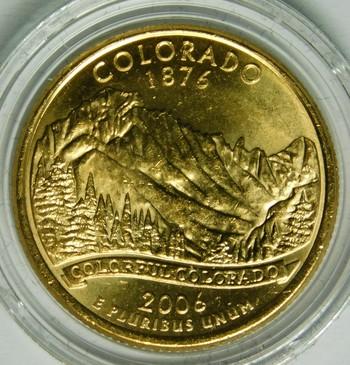 2006-P 24K Gold-Layered Colorado Commemorative State Quarter - In Plastic Capsule