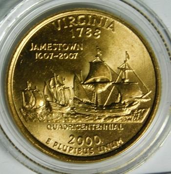 2000-P 24K Gold-Layered Virginia Commemorative State Quarter - In Plastic Capsule