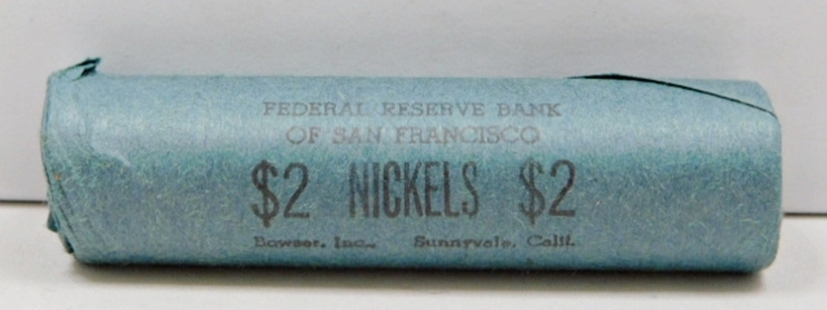 1960 Unopened/Unsearched $2 Bank Roll of 1960 Jefferson Nickels - Brilliant Uncirculated from the Federal Reserve Bank of San Francisco