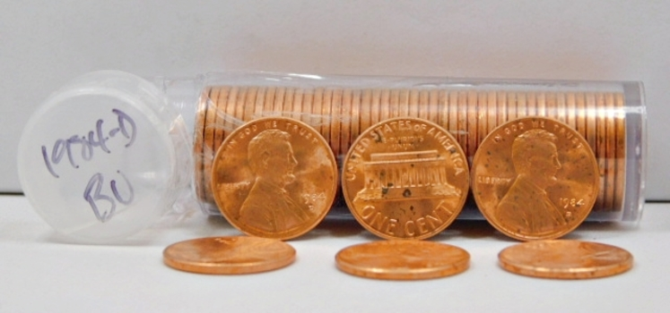 Full Roll of 1984-D Brilliant Uncirculated Lincoln Memorial Cents