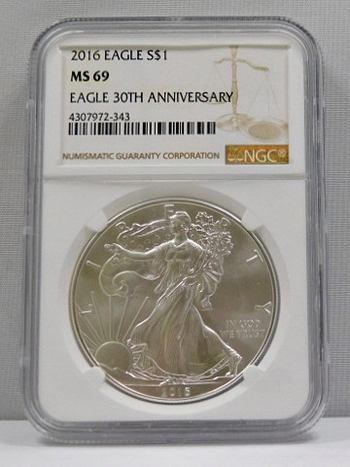 2016 American Silver Eagle - 30th Anniversary of the Eagle - Graded MS69 by NGC