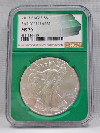 2017 American Silver Eagle - Early Releases Coin - Green Monster Box Label - Graded MS70 by NGC