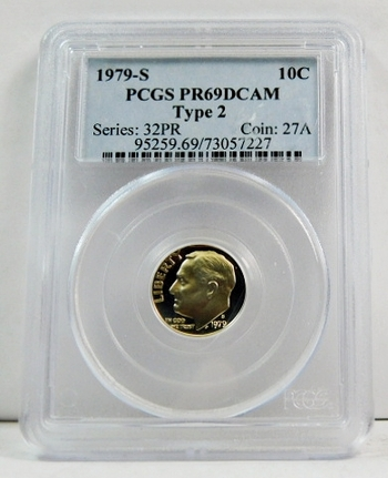 1979-S Proof Roosevelt Dime - Type 2 - Graded PR69 DCAM by PCGS