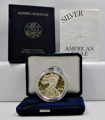 1997-P Proof American Silver Eagle - 1 oz .999 Fine Silver - In Original Philadelphia Mint Velvet Gift Box with COA and Outside Cover Box