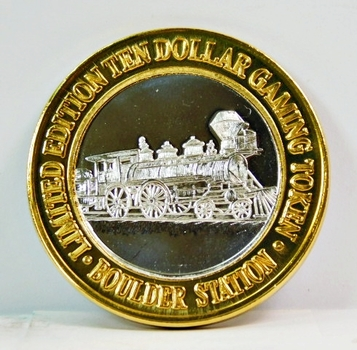 Silver Strike - .999 Fine Silver - Boulder Station Hotel & Casino - Limited Edition $10 Gaming Token - Las Vegas, Nevada