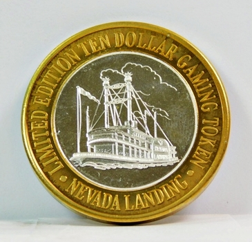 Silver Strike - .999 Fine Silver -Nevada Landing Hotel & Casino - Limited Edition $10 Gaming Token - Jean, Nevada