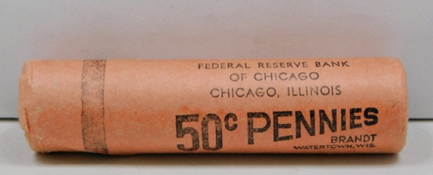 UNOPENED! 1959-D Original Brilliant Uncirculated Roll Of 50 Lincoln Cents! Bright, Flashy Red & Found In An Abandoned Bank Vault-Federal Reserve Bank Of Chicago-A Great Find!