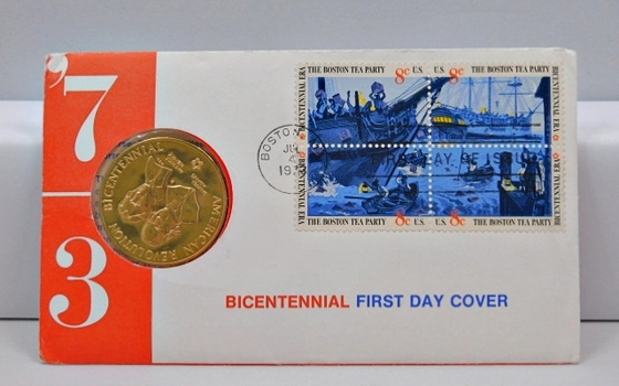 First Day Cover! July 4, 1973 Bicentennial Commemorative Medal-Beautiful Medal, In Original (Superb) Govt Envelope With Dated Postal Stamp