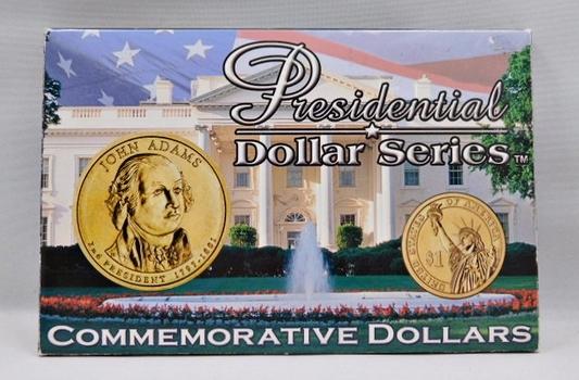 Presidential Dollar Series-(2) Gem Uncirculated John Adams Dollar Coins (1) Philadelphia (1) Denver-Comes Encased Into Presentation Case