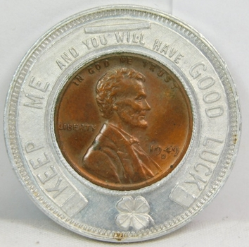 1949-D High Grade Encased Cent - 1900-1950 50th Anniversary - The First National Bank - Leechburg, PA
