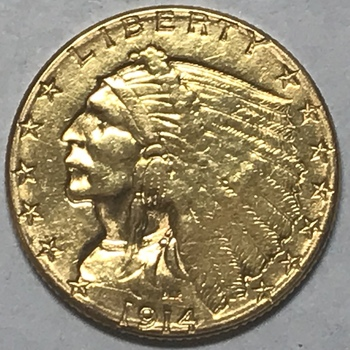 1914-D $2 1/2 Indian Quarter Eagle Gold Coin - Denver Minted