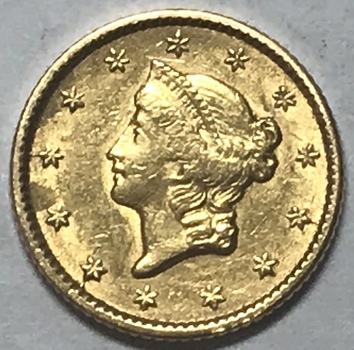 1853 $1 Type 1 Liberty Head Gold Dollar