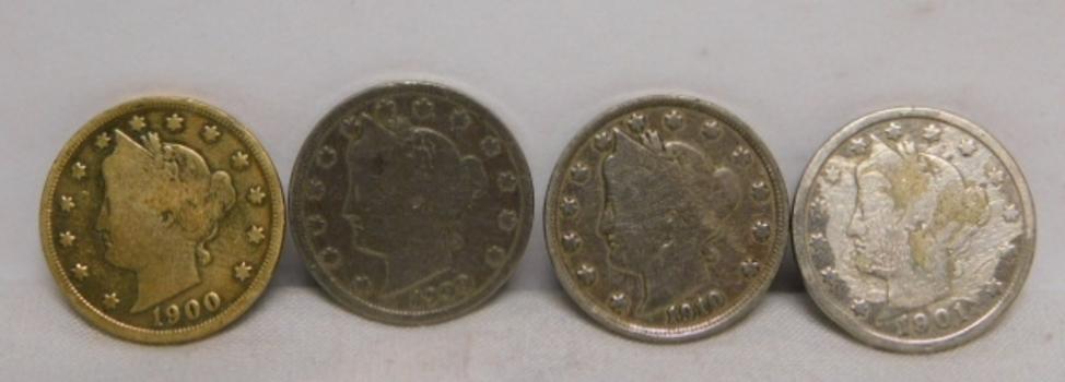 "Lot of 10 Liberty ""V"" Nickels 1897-1912"
