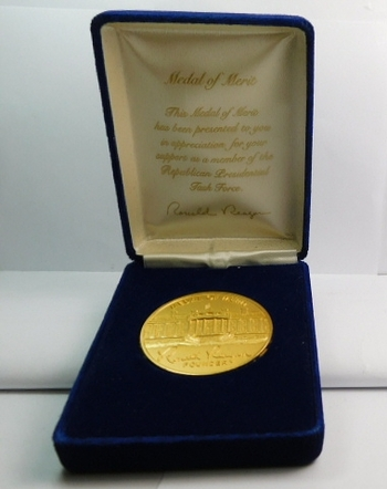 "2"" Gold Colored Medal of Merit Presented to the Republican Presidential Task Force - Medal Has President Reagan's Signature - Includes a Blue Velvet Gift Box"