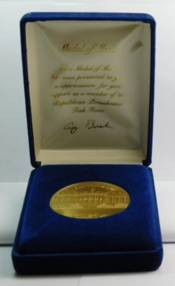 "2"" Gold Colored Medal of Merit Presented to the Republican Presidential Task Force - Medal Has President George H. Bush's Signature"