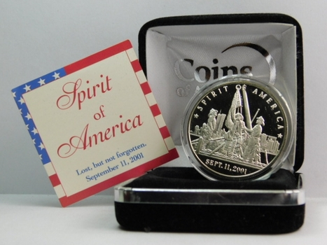 One Troy Ounce .999 Fine SILVER Proof - Spirit of America - Gone But Not Forgotten - September 11, 2001