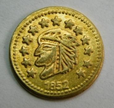 1852 California Gold Plated Replica Token