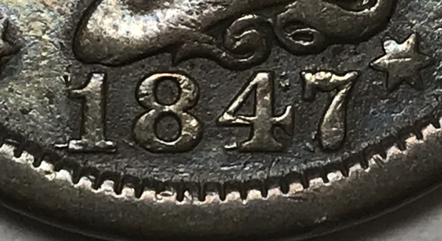 MINT ERROR - 1847/1847 Repunched Date Large Cent
